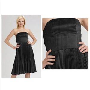 Cynthia Vincent Black Pleated Chiffon Dress